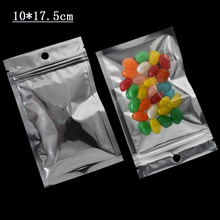 10x17.5cm Mylar Zip Lock Bag For food Package Plastic Clear Front Hang Hole Zipper Packaging Pouches with 1000Pcs