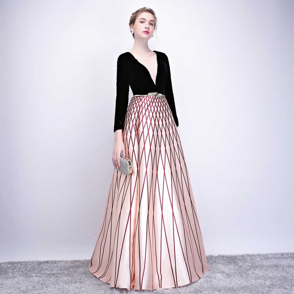 961e7a8422fdd SOCCI Weekend Robe De Soiree 2019 New Evening Dress Banquet Black Velour  with Stripe Floor-length Long Sleeved Prom Party Gowns
