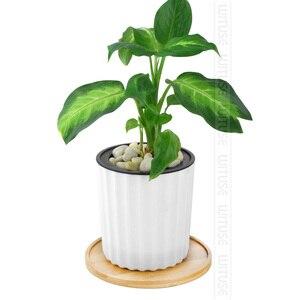 Image 5 - Wituse 12 Stijl Bloem Dozen Schotel Keramische Succulent Planter Plant Potten Bamboe Stand Desktop Geometrie Geglazuurd Vaas Bamboe Lade