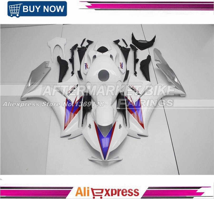 HRC White ABS Fairing Kit For Honda CBR1000RR 2012 2013 2014 Bodywork With Blue Decals детская ванночка okbaby ok3803