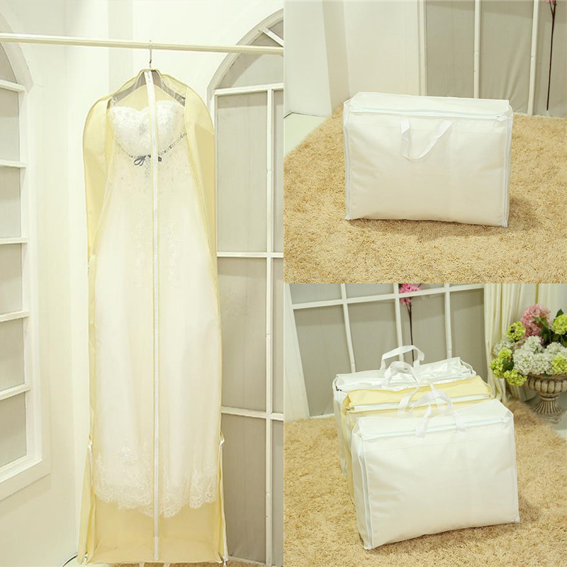 180cm 2 In 1 Wedding Dress Bags Clothes Cover Dust Bride Bridesmaid Garment Bridal Gown Bag Storage From Home Garden