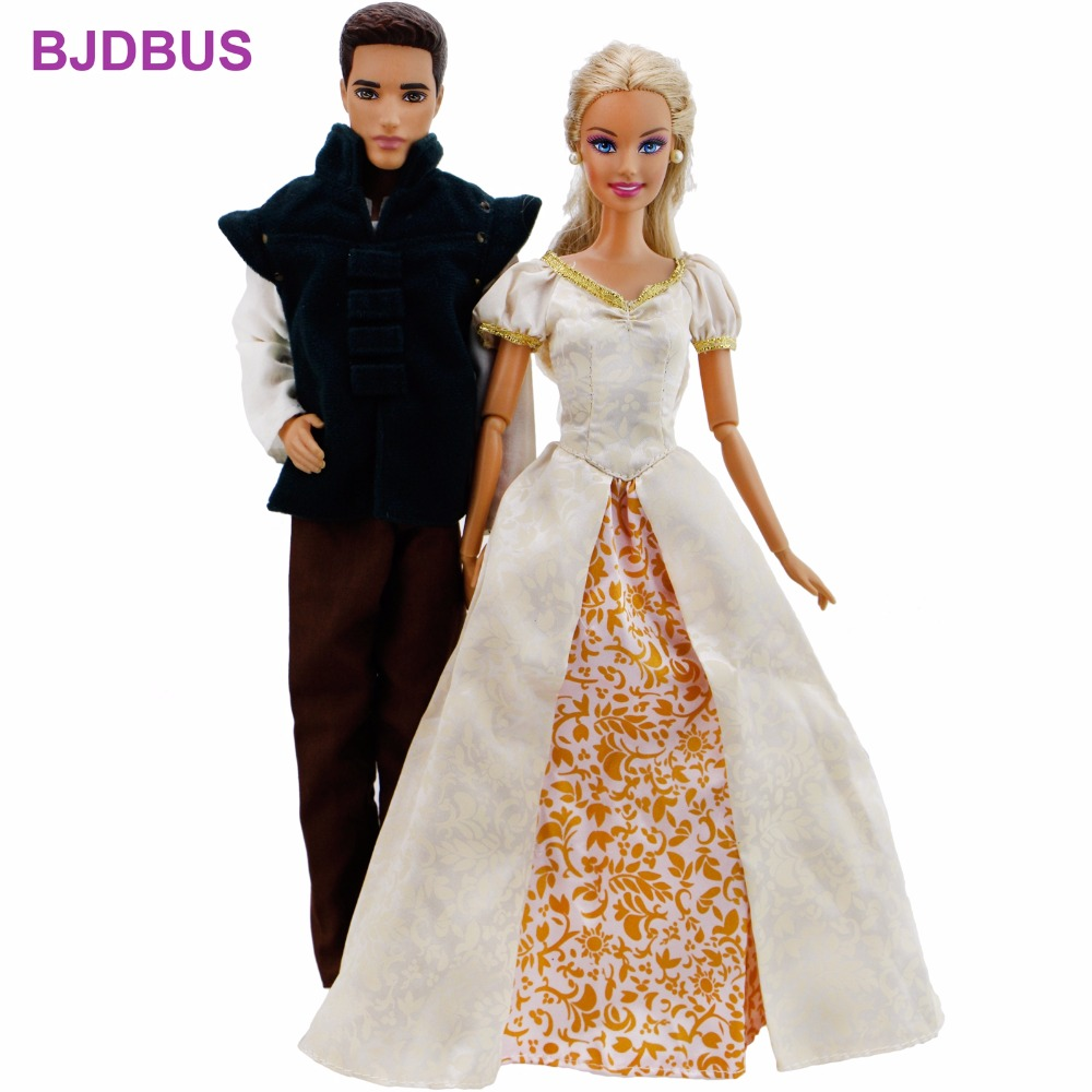 цены на 2 Set Fairy Tale Couples Outfits Copy Tangled Princess Dress Gown + Prince Coat Trousers Clothes For Barbie Doll Ken Accessories в интернет-магазинах