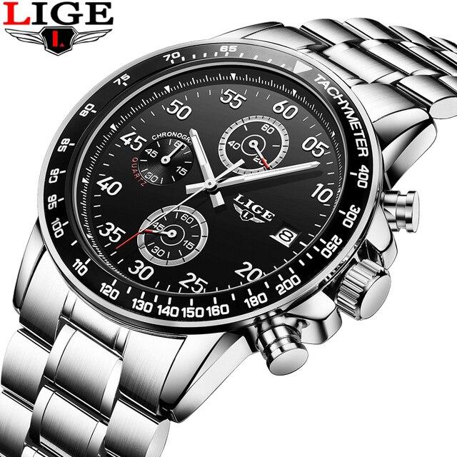 92da7c61ba2 LIGE Mens Relógios Top Marca de Luxo Esporte Relógio de Quartzo Homens de  Negócios Completa Aço