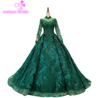 Emerald Green Crystal Sequins Evening Dresses 2017 Modest Illusion Long Sleeve Arabic Dubai Prom Dress Formal Gown