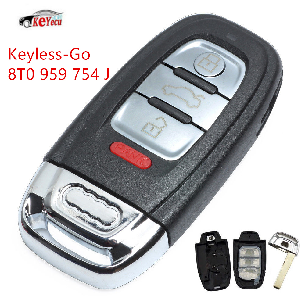 KEYECU New Smart Keyless Go Remote Key 3+1 Buttons 315MHz 8T0 959 754 J for Audi Q5 A4L with Comfort Access|Car Key| |  - title=