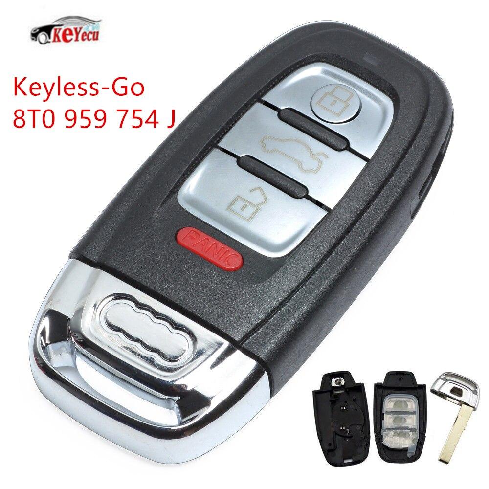 KEYECU nouvelle clé à distance intelligente sans clé 3 + 1 boutons 315 MHz 8T0 959 754 J pour Audi Q5 A4L avec accès confort
