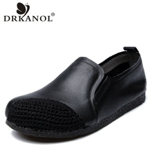 DRKANOL 2019 Women Flat Shoes Breathable Weaving Round Toe Genuine Leather Flats Casual Slip On Loafers Woman Female Footwear leather woman sneakers shoes flat loafers 2018 new breathable soft bottom round toe slip on casual flats women shoes nysiani