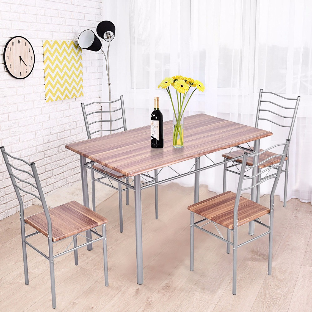 5 Piece Dining Set Wood Metal Frame Table And 4 Chairs: Giantex 5 Piece Dining Set Wood Metal Table And 4 Chairs