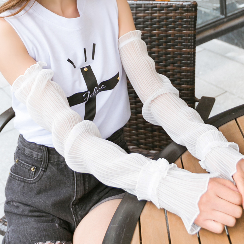 Lace Sunscreen Cuff Female Summer Gloves Thin Section UV Anti-UV Sleeves Drive Long Hand Sleeve Arm Arm Sleeve