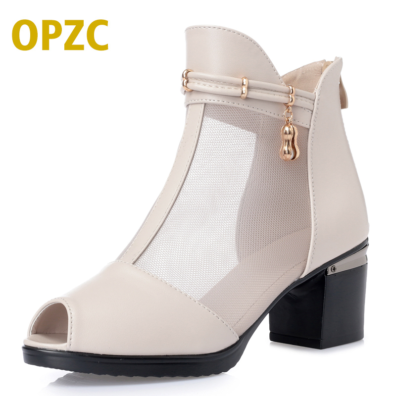 OPZC 2018 new summer boots women big size 41 42 43 fashion high heels black sandal genuine leather Fish mouth