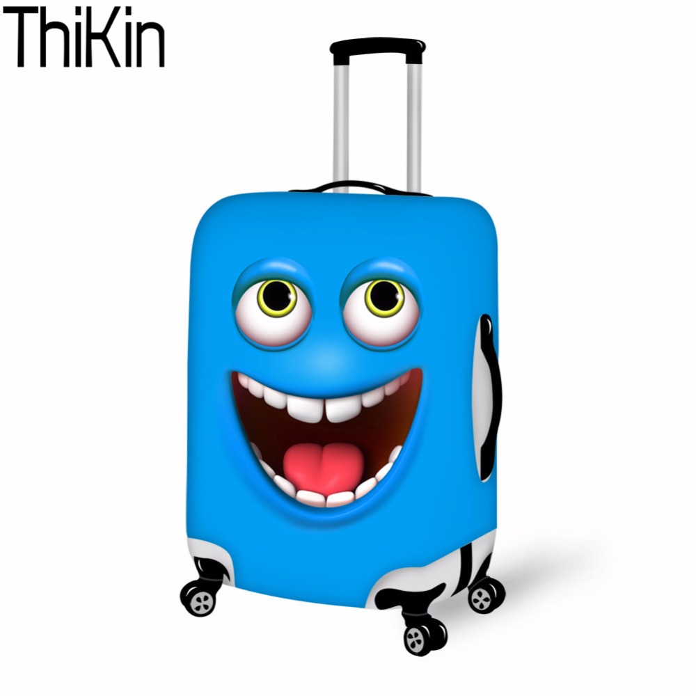 THIKIN Luggage Cover 3d Funny Face Smiley Emoji Dust proof Travel Bags Luggage Case Cover Thick Protective Covers for Suitcases in Travel Accessories from Luggage Bags