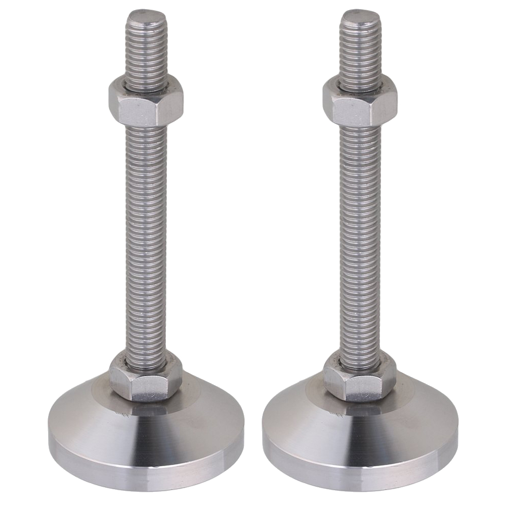Stainless Steel 60mm Dia M12x100mm Thread Fixed Adjustable Feet For Machine Furniture Feet Pad Max Load 2Ton Pack Of 2