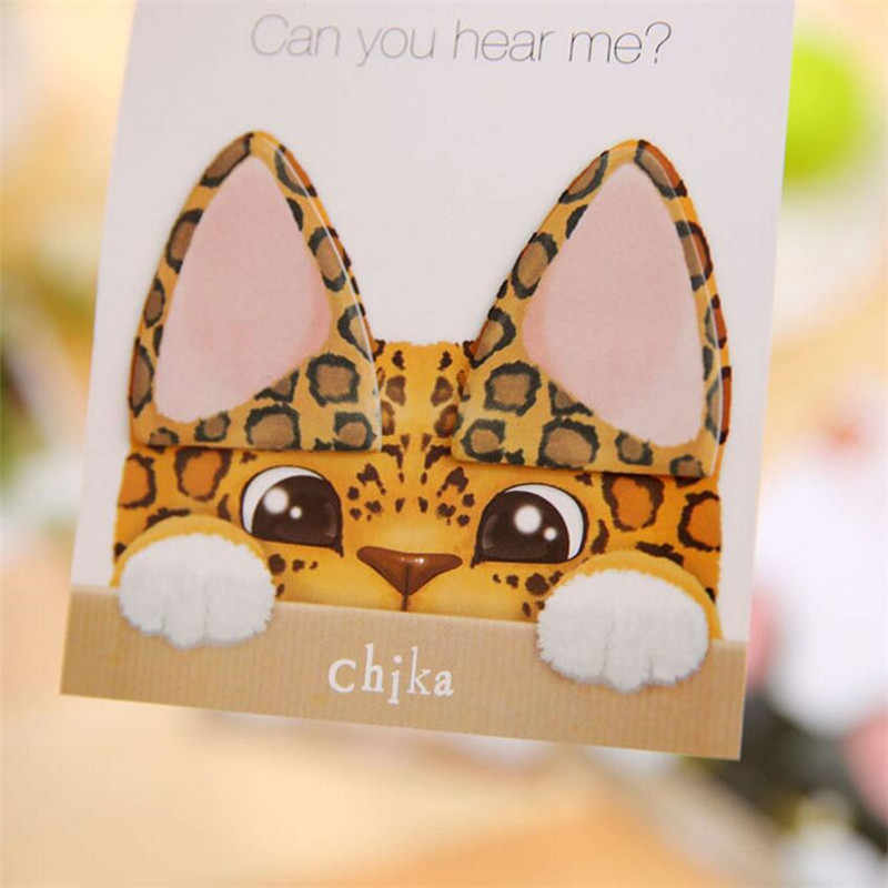 1PCS Creative stationary Kawaii Cat ear Memo Pads Sticky Notes Tickers Scrapbooking Convenient N Time stickers Office Supplies