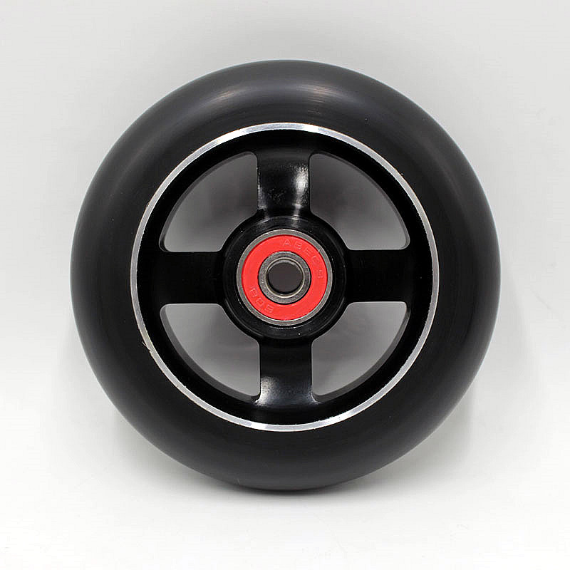 10PCS The New! High elastic! Madden! Aluminium Metal Freestyle Stunt Scooter Wheels Black PU Black Aluminum 100x24mm 88A 2015 new design freestyle stunt scooter in hot selling
