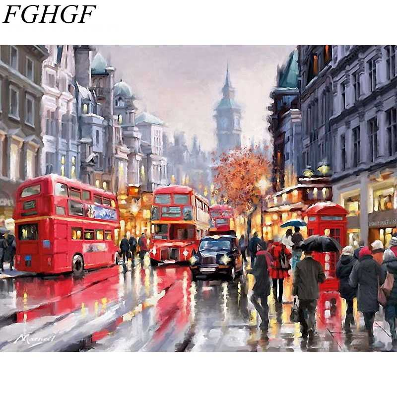 FGHGF Frameless DIY Digital Painting By Numbers Hand Painted On Canvas Abstract Oil Painting Landscape Home Decor
