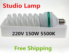 220V 150W 5500K E27 Photo Studio Lamp Video Photography Daylight Continuous Light Bulb Energy Saving CFL Free shipping