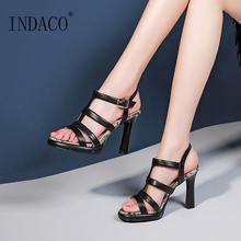 Summer Shoes Platform Roman Sandals Open Toe Women Super High Heel Black White Snakeskin Pattern