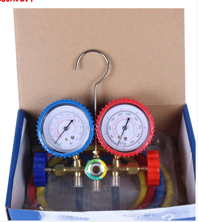 refrigeration tool manifold high pressure and low pressure double gauges valve with dosing tubes r134a single refrigeration pressure gauge code 1503 including high and low