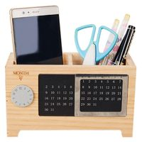Wooden Office Desk Organizer Pen And Pencil Holder Stationery Storage Box With Calendar For The Desk