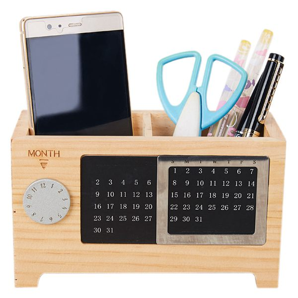 Wooden Office Desk Organizer Pen and Pencil Holder Stationery Storage Box with Calendar for the Desk arc shaped laptop storage holder aluminum alloy anti slip silicone tablet desk bracket for office home for macbook asus