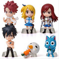 6 pçs/set Anime Fairy Tail Natsu / cinza / Lucy / Erza Action Figure Toy PVC modelo Dolls grande presente