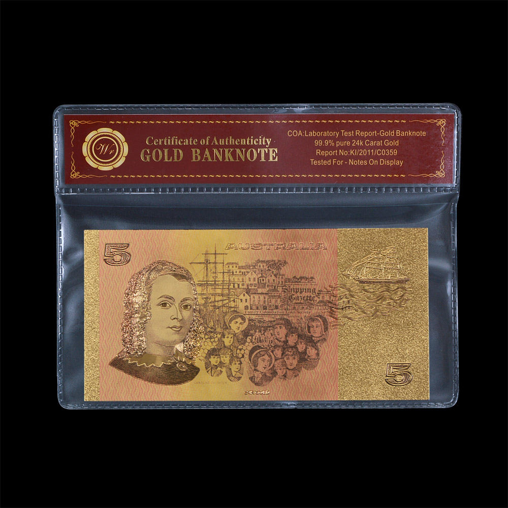 5 AUD Normal Gold Foil Plated, Business gift Engraved Colorful Old AUD Gold Banknote