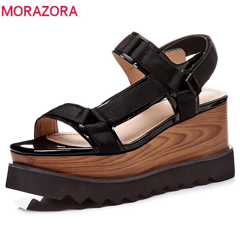 MORAZORA 2020 new arrival women sandals genuine leather summer shoes solid casual ladies shoes platform shoes