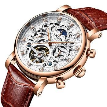 KINYUED Men's Automatic Mechanical Watches Hollow Dial Tourbillon Man Multifunction Waterproof Casual Calendar Sports Watch