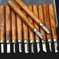 12 unids/set Talla De Madera Cinceles Cuchillo Para Grabado En Madera Herramientas de BRICOLAJE y Herramientas Manuales Detallados de Trabajo Básico