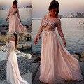 2014 Top escarpado cristales del escote redondo que rebordea la manga larga playa de la gasa mujeres del vestido vestido de envío gratis WH462