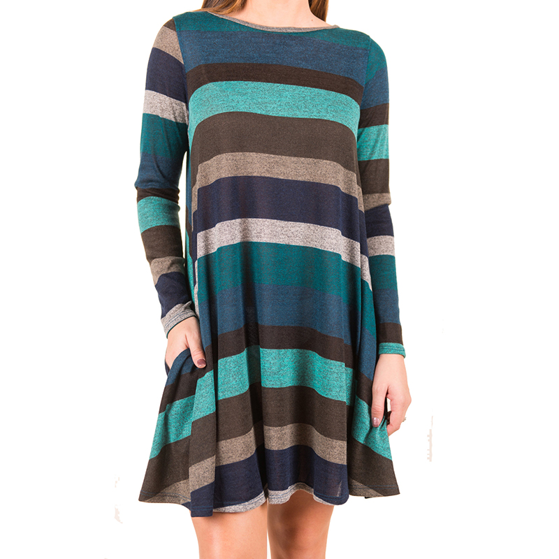 New Stripe Dress Women Color Patchwork Long Sleeve O Neck Casual Loose Dress Female Vestidos Robe