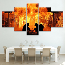 Fire Fighter Canvas free shipping 5 Panels Wallpapers modern Modular Poster art painting for Living Room Home Decor