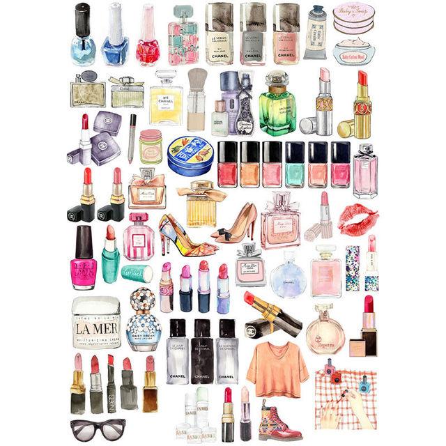 2 piezas lápices labiales y zapatos maquillaje sin cortar Sketchbook diario Sticker Pack bala revista pegatinas Scrapbooking suministros vv