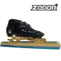 6 Layer Carbon Fiber Dislocated Ice Skates Inline Speed Skating Shoes with Dislocation Ice Blade 62 64 Black Zip Water proof