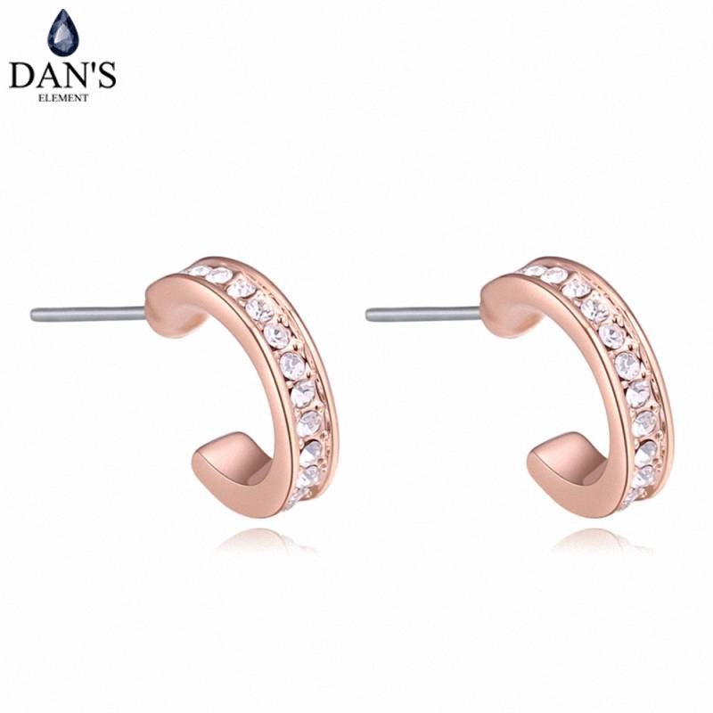 DANS 3 Colors Real Austrian crystals Stud earrings for women Earrings s New Sale Hot Round 130403