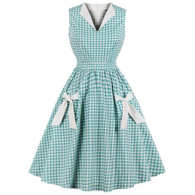 Robe Femme Plus Size Vintage Plaid Dress 50s Audrey Hepburn Print Women Party Dress Bowknot Swing Rockabilly Dresses Feminino