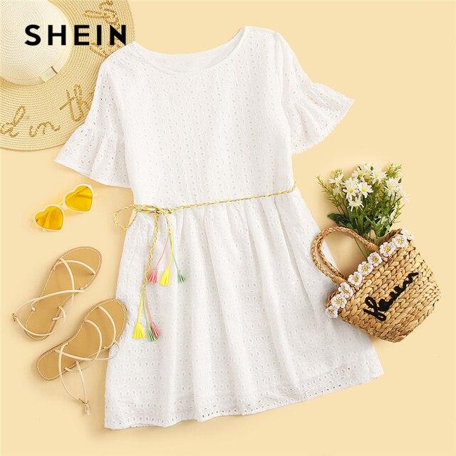 SHEIN Boho White Flounce Short Sleeve Solid Schiffy Straight Summer Lace Dress Women Elegant O-Neck Tunic Shift Cute Dresses 5