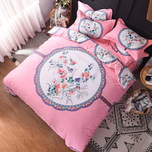 2018 Home Textile 100% Cotton 4PCS Bed Sets king size bedding sets floral duvet cover pillowcases bed sheet linen
