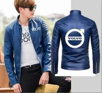 New spring and autumn winter locomotive fashion volvo leather jacket men's zipper motorcycle leather jacket