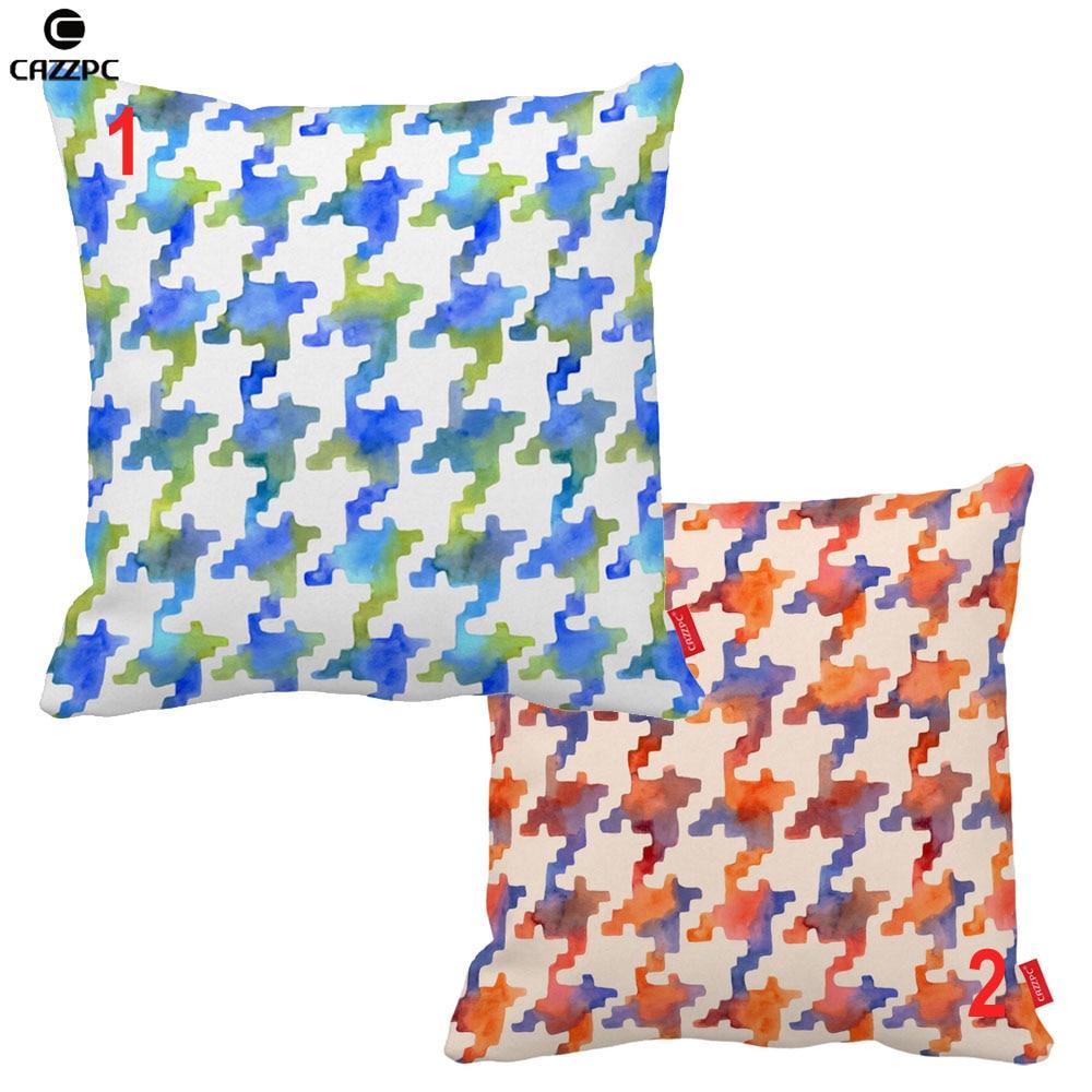 Blue Red Pixel Houndstooth Cobalt Geometric Print Car Sofa Decorative Pillowcase Cushion Cover Home Decor