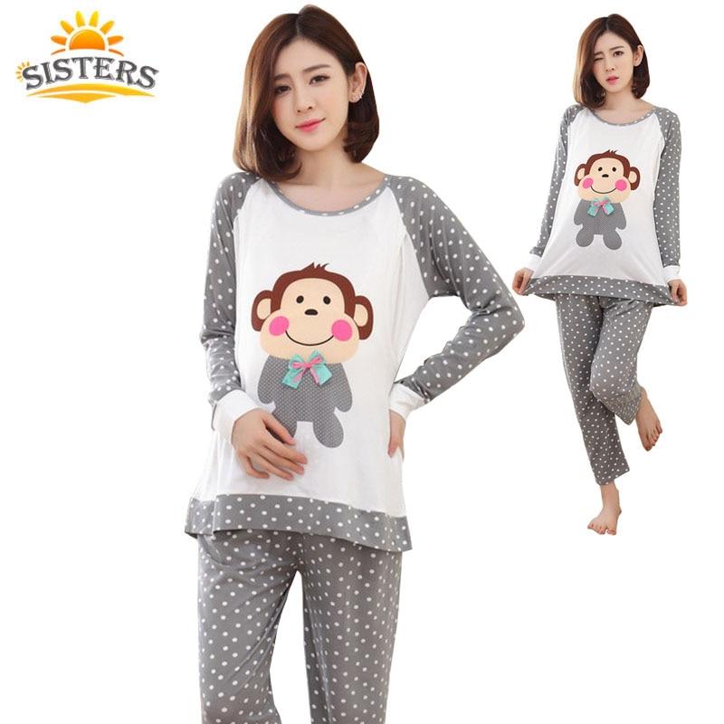 2018 Ropa de Enfermería de Verano Ropa de Dormir Traje Embarazada de Calidad Superior de algodón Lactancia Pijamas Maternidad Ropa Madre XXL