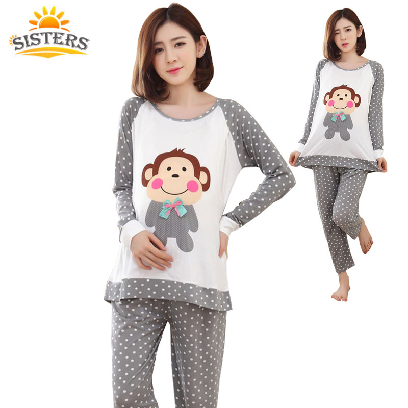 2018 Summer Nursing Clothes Sleepwear Pregnant Costume Top Quality cotton Breastfeeding Pajamas Maternity Clothes Mother XXL