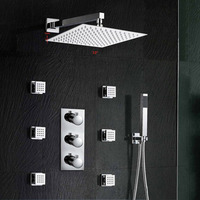 Promotion 10 Waterfall Rain Shower Head Faucet Thermostatic Valve Mixer Tap W Massage Jets Wall Mounted