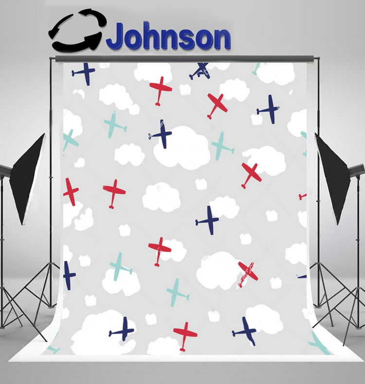 children kids background Vinyl cloth High quality Computer print Colorful Planes White Clouds Gary photo backdrop