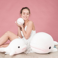 Cute White Whale Plush Toy Plush Animal Doll Stuffed Cotton Whale Toys Simulation Animal Pillow Soft Baby Pillow Soothing Toy