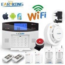 Wifi GSM PSTN Home Burglar Security Alarm System Intercom 433 Wirelesss Sensor Alarm Remote Control Auto dial Siren  Sensor Kit
