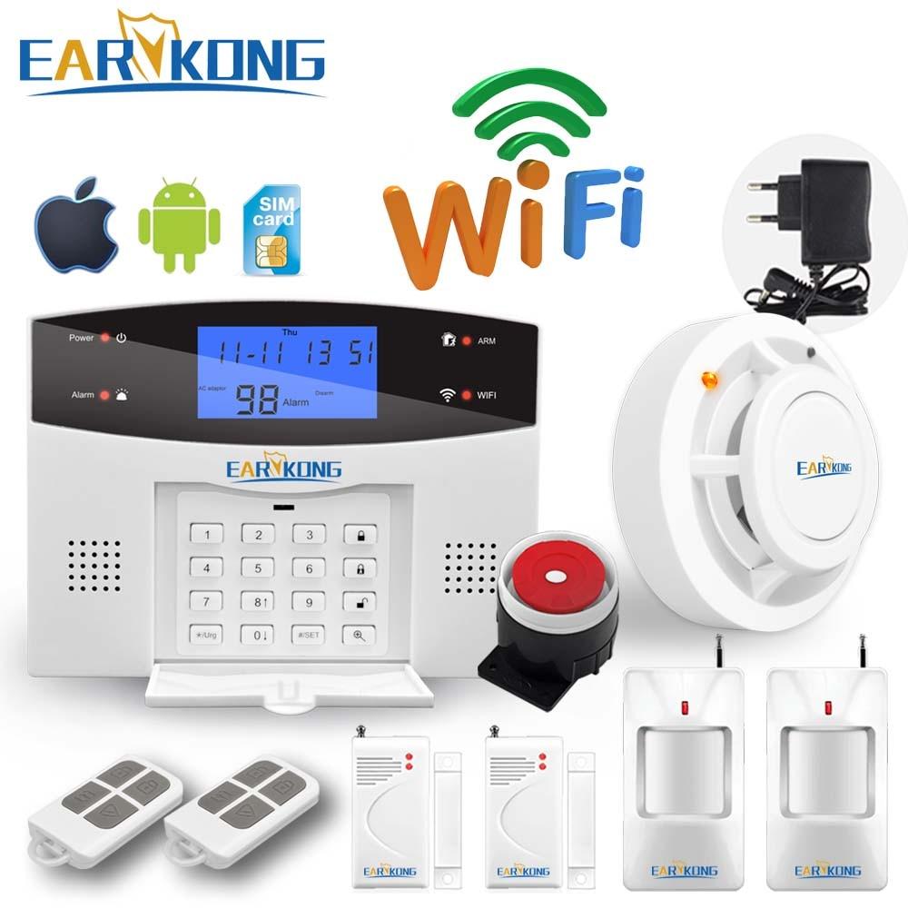 Wifi GSM PSTN système d'alarme de sécurité antivol à domicile interphone 433 sans fil capteur alarme télécommande automatique cadran sirène capteur Kit