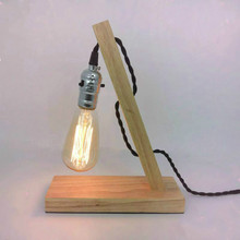 Tiffanylampe Table Lamps For Living Room Loft Vintage E27 Edison Bulb Table Lamp Dimmable Water Pipe Wooden Light Fixture