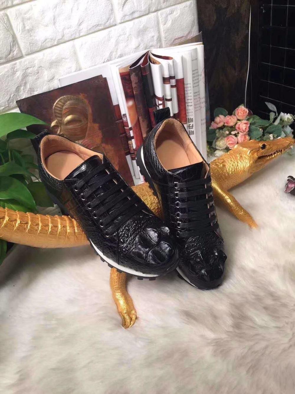 2018 new fashion 100% Genuine real genuine crocodile head skin leather men business leisure shoe full handmade Italian master 2018 fashion genuine real crocodile skin
