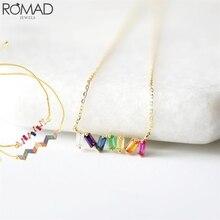 ROMAD Crystal bracelets bangles for women rainbow bracelet bridal zircon cubic wedding multicolored party R5
